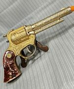 Vintage 1950and039s Wyandotte Toys Toy Cap Gun - Gold Plated Red Ranger
