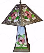Arts And Crafts Style Leaded Stained Glass Lamp - Illuminating Shade And Base