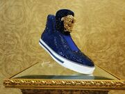 New Versace Idol Palazzo High -top Blue Crystal Embellished Sneakers 39.5 - 6.5