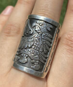 Navajo Sterling Silver Stamped Ring. Size 10. Fred Charley