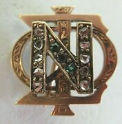 Usa Fraternity Pin Nu Sigma Phi. Made In Gold. Diamonds Dated 1900 Named. 1400