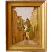 Antique 19th Rare Original View Of Italy Oil Wood Painting Framed