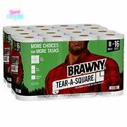 Brawny Tear-a-square Paper Towels Strong Absorbent 2 Ply 16 Double Rolls White
