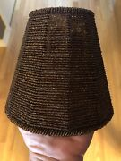 Beaded Wired Lamp Shade Empire Clip-on Bulb Brown Amber Beads Retro 3 1/4 X 6