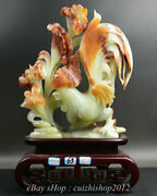 18 China Natural Xiu Jade Carving Feng Shui Rooster Cock Luck Sculpture