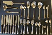 63 Pc Retroneu Barrington Glossy 18/8 Stainless Flatware And Serving Pieces