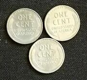 1943 P+d+s Lincoln Steel Wheat Penny Set-choice-gem Bu 3 Coins. Free Shipping