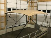Complete Pontoon Boat Square Tube Bimini Top Kit 8and039x8and039 Beige Lifetime Warranty