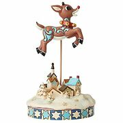 Enesco Jim Shore Leaping Rudolph With Bells Christmas Figurine 6006792