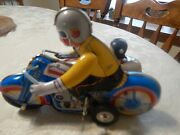 Vintage China 605 Wind Up Tin Toy Motorcycle With Sidecar