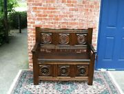 French Antique Dark Oak Brittany Style Entryway Bench With Storage