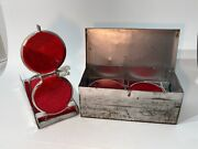 Vintage Set 3 Roadside Red Reflectors Auto Safety Flare Equipment In Metal Box