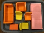 Vintage Barbie Townhouse Mod Furniture Orange Couch Yellow Chairs Pink Bed 1973