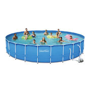 Summer Waves 24 Ft Active Frame Round Above Ground Swimming Pool Brand New