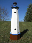 Well Pump Cover Wooden Lighthouse With Solar Light - 4 Ft Tall - Blue Accents