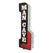 Man Cave Reproduction Vintage Advertising Sign - Battery Powered Led Lights, - X