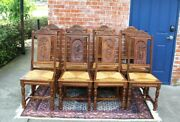 French Antique Carved Oak Brittany Set Of 8 Dining Rush Seat Chairs