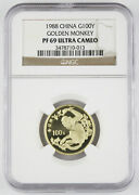 China 1988 Endangered Wildlife Golden Monkey 8 Gram Gold Proof Coin Ngc Pf69 Uc