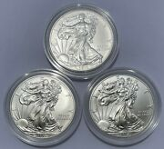 2014 - 3 Silver American Eagles In Us Mint Capsules - Brilliant Uncirculated