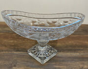 Vtg 12.75x8andrdquo Lead Crystal Cut Glass Footed Centerpiece Oval Fruit Bowl Pedestal