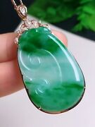 Icy Green Jadeite Jade Pendant Handcarved 18k Gold And Ruyi Grade A 0528