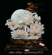 19 China Natural Xiu Pink Jade Carving Subshrubby Peony Flower Birds Statue