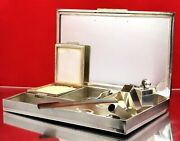1930and039s Silver Gold Stones Minaudiere Vanity Compact Powder C. Lighter Lipstick