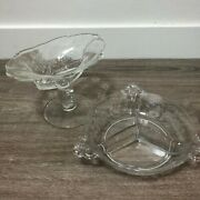 Fostoria Orchid Bows Etched Pedestal Oval Candy Dish And Relish Dish