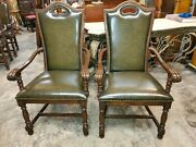 2 Johnathan Charles Leather Arm Chairs - Carved Wood Frame - Beautiful