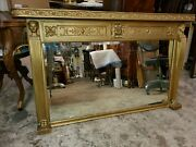 Large Early 1900and039s Antique Gold Mantle Mirror - Egyptian Revival - Beautiful