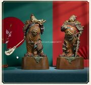 Pair 17and039and039 Bronze Crafts Home Furniture Decoration Guan Gong Wei Tuo Bodhisattva