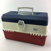 Vintage Sears Red White And Blue Fishing Tackle Box 6 Tray 34431 No Lures