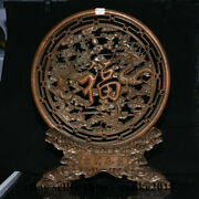 20 Old China Boxwood Hand Carving Feng Shui Dragon Phoenix Luck Folding Screen