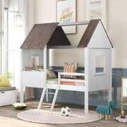 Twin Size Low Loft Wood House Bed With Two Side Windows For Kids Teens Us Stock