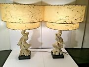 Vintage Plasto Chalkware Driftwood Mid Century Modern 1950and039s Pair Of Table Lamps