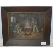 Vintage 20th Swiss Original Oil Canvas Painting Cheese Making Signed Gianoli