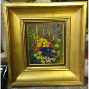 Vintage 20th France Rare Original Oil Canvas Painting Bouquet Flowers Signed Th