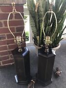 """Vintage Pair Ethan Allen Knob Creek Brass And Metal Table Lamps Approx 27.5"""""""