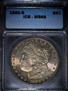 1880-s Morgan Silver Dollar Icg Ms65 Gem Beautiful Gold Toned And Issue Free