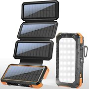Pd 18w Solar Panel Charger Qc 3.0 Fast Charging Power Banksolar Phone Orange