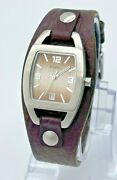 Womenand039s Fossil Silver Tone Wide Brown Leather Cuff Watch Quartz Analog Date