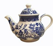 Vintage Churchill Blue Willow Teapot China Ceramic With Lid Excellent Condition