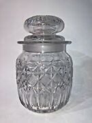 Vtg Rare Antique Crystal Libbey Signed Cut Glass Jar Canister W Lid Uncommon 9