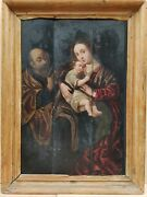 19th Century School Religious Oil Painting On Three Panels Holy Family And St.john
