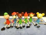 Vintage Shelf Sitting Wooden Toy Figures Rope Arms And Legs Hang Loop Pinocchio