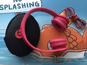 Hot Pink Beats By Dr. Dre Solo Hd Wired On Ear Headphones - Red Monster Cord