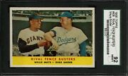 1958 Topps 436 Willie Mays Duke Snider Sgc 8.5 Nm-mt+ 92 Rival Fence Busters