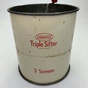 Vintage Rare Design Triple Shifter 3 Screen Flowers Androck Flour Sifter Working