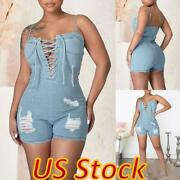 Women Sexy Bodycon Cross Lace Up V Neck Backless Denim Jumpsuit Shorts Rompers