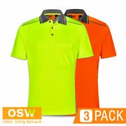 3 X Hi Vis Unisex Bamboo Charcoal Knitted S/s Breathable Work Polo Shirts Sw79